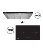 75 cm 2 Zone Hybrid Induction Hob + 90 cm Semi-Integrated Slimline Cooker Hood Cooking Package