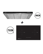 75 cm 2 Zone Induction Hob + 90 cm Semi-Integrated Slimline Cooker Hood Cooking Package