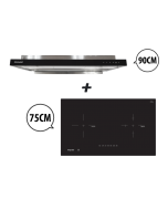 75 cm 2 Zone Hybrid Induction Hob + 90 cm Semi-integrated Cooker Hood with Oil Tray Cooking Package