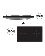 75 cm 2 Zone Induction Hob + 90 cm Semi-integrated Cooker Hood with Oil Tray Cooking Package
