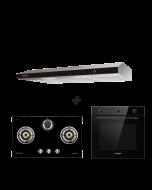 78 cm 3 Burner Glass Gas Hob + 90 cm Slimline Cooker Hood + 60 cm Built-in Oven with Smoke Ventilation System Cooking Package