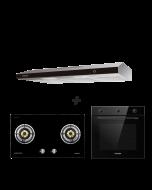 86 cm 2 Burner Glass Gas Hob + 90 cm Slimline Hood + 60 cm Built-in Oven with Smoke Ventilation System Cooking Package