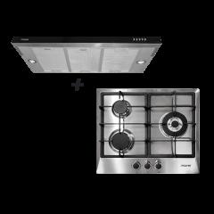 60 cm 3 Burner Stainless Steel Gas Hob + 60 cm Semi-Integrated Slimline Cooker Hood Cooking Package
