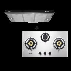 Mayer 3 Burner Stainless Steel  Hob MMSS883HI and 90 cm Slimline Cooker Hood MMSI900HS Cooking Package