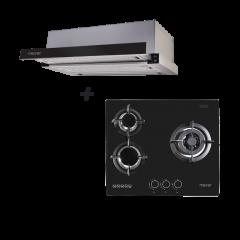 60 cm 3 Burner Glass Gas Hob + 60 cm Telescopic Cooker Hood Cooking Package