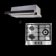 60 cm 3 Burner Stainless Steel Gas Hob + 60 cm Telescopic Cooker Hood Cooking Package