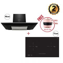 75 cm 2 Zone Induction Hob + 90 cm Chimney Hood (Black)