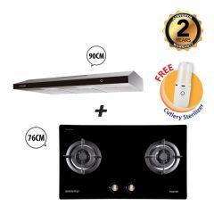76 cm 2 Burner Glass Gas Hob + 90 cm Slimline Cooker Hood Bundle Deal