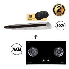 76 cm 2 Burner Glass Gas Hob + 90 cm Slimline Cooker Hood Bundle Deal
