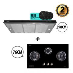 76 cm 3 Burner Glass Gas Hob + 90 cm Semi-Integrated Slimline Cooker Hood Bundle Deal
