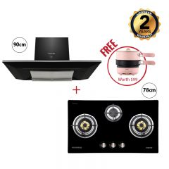 78 cm 3 Burner Glass Gas Hob + 90 cm Chimney Hood (Black)