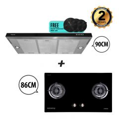 86 cm 2 Burner Glass Gas Hob + 90 cm Semi-Integrated Slimline Cooker Hood Bundle Deal