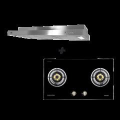 78 cm 2 Burner Glass Gas Hob + M Series 90 cm Semi Integrated Cooker Hood Cooking Package