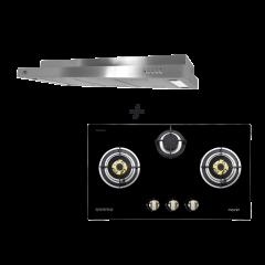 78 cm 3 Burner Glass Gas Hob + M Series 90 cm Semi Integrated Cooker Hood Cooking Package