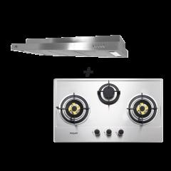 75 cm 3 Burner Stainless Steel Gas Hob + M Series 90 cm Semi Integrated Cooker Hood Cooking Package