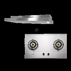 86 cm 2 Burner Stainless Steel Gas Hob + M Series 90 cm Semi Integrated Cooker Hood Cooking Package