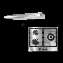 60cm 3 Burner Stainless Steel Gas Hob + 90 cm Slimline Hood Cooking Package