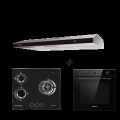 60 cm 3 Burner Glass Gas Hob + 90 cm Slimline Hood + 60 cm Built-in Oven with Smoke Ventilation System Cooking Package