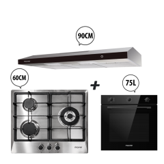 60 cm 3 Burner Stainless Steel Gas Hob + 90 cm Slimline Hood + 60 cm Built-in Oven with Smoke Ventilation System Cooking Package