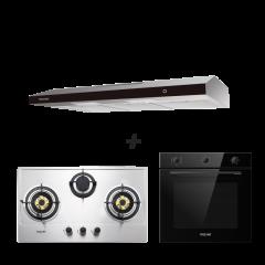 75 cm 3 Burner Stainless Steel Gas Hob + 90 cm Slimline Cooker Hood + 60 cm Built-in Oven with Smoke Ventilation System Cooking Package