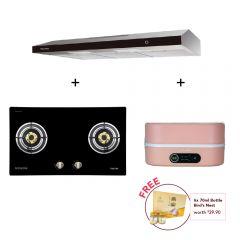 78 cm 2 Burner Glass Gas Hob  + 90 cm Slimline Cooker Hood + Digital Multi-Cooker (Pink)