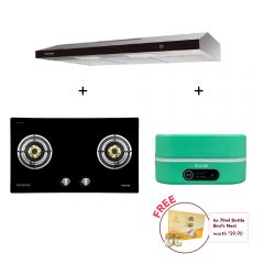 78 cm 2 Burner Glass Gas Hob  + 90 cm Slimline Cooker Hood + Digital Multi-Cooker (Mint)