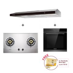 75 cm 2 Burner Stainless Steel Gas Hob + 90 cm Slimline Hood + 60 cm Built-in Oven with Smoke Ventilation System Cooking Package