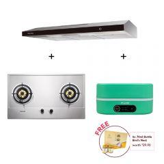 75 cm 2 Burner Stainless Steel Gas Hob + 90 cm Slimline Hood + Digital Multi-Cooker (Mint)