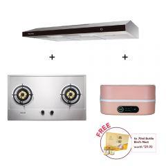 75 cm 2 Burner Stainless Steel Gas Hob + 90 cm Slimline Hood + Digital Multi-Cooker (Pink)