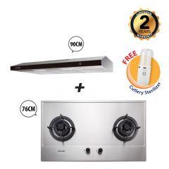 76 cm 2 Burner Stainless Steel Gas Hob + 90 cm Slimline Cooker Hood Bundle Deal