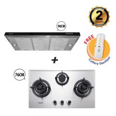 76 cm 3 Burner Stainless Steel Gas Hob + 90 cm Semi-Integrated Slimline Cooker Hood Bundle Deal